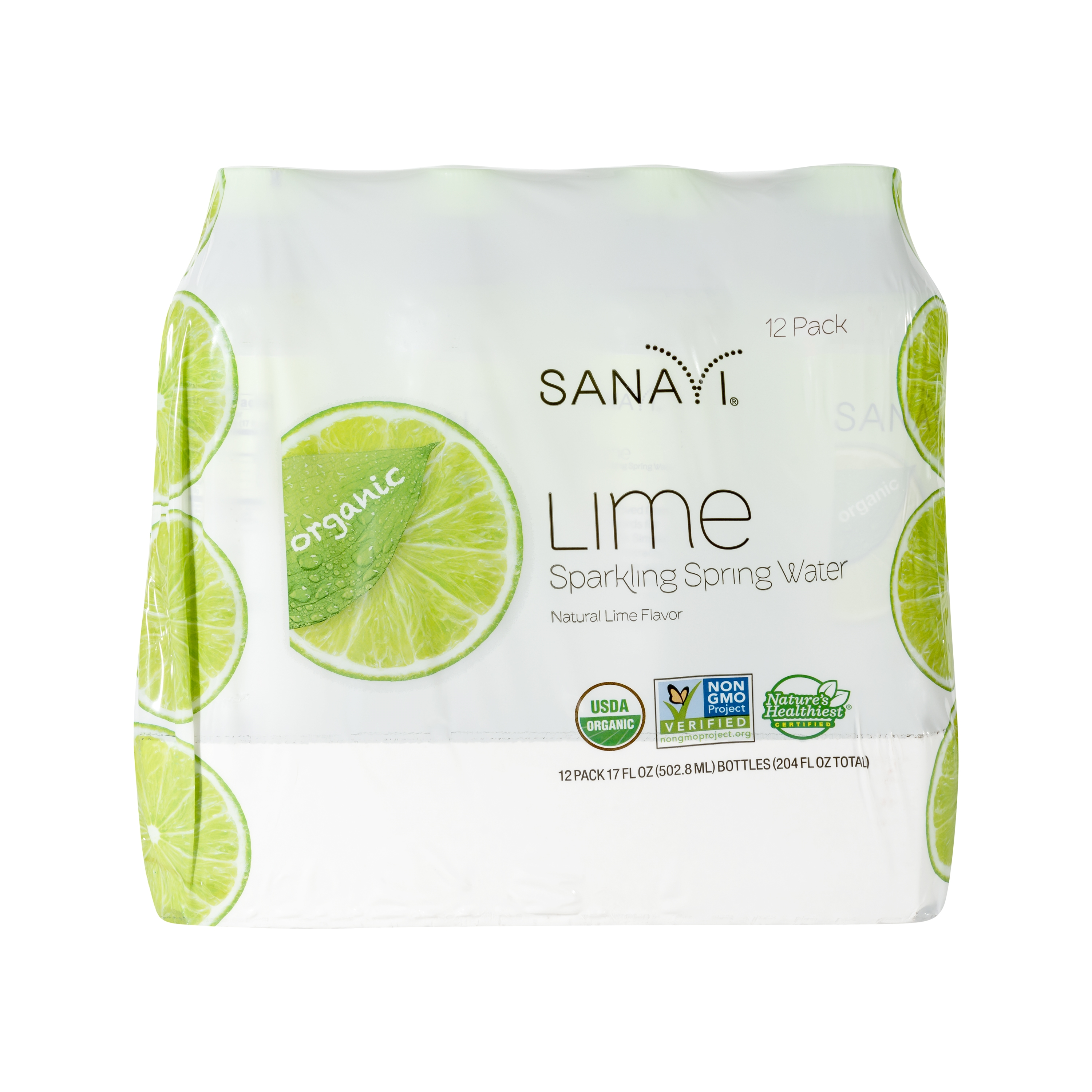 Sanavi Lime Sparkling Spring Water, 17 oz (12 Pack)